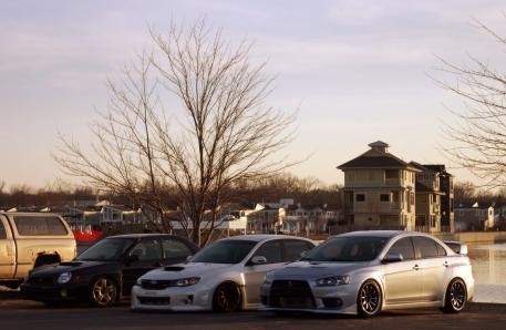 WRX with VW Wheels, STi on bags, Evo X